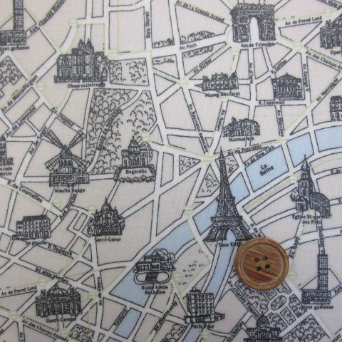 画像1: エッフェル塔・パリ市街地図柄 シーチング生地  ラミネート