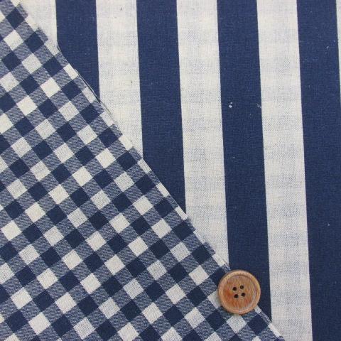 画像1: 綿麻キャンバス ストライプ・チェック リバーシブル柄 (紺)
