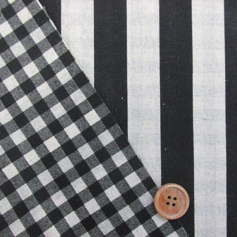 画像1: 綿麻キャンバス ストライプ・チェック リバースブル柄 (黒)