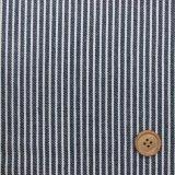 (4)綿ヒッコリー  生成のストライプ(紺地)はぎれ45cm