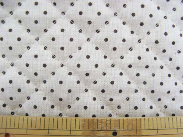 画像1: 綿麻シーチング 生成りに茶色の ドット柄生地 キルト