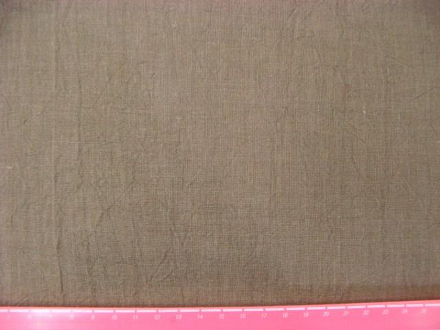 画像1: (4)リネンキャンバスハンドワッシャー生地 はぎれ1m(薄茶)