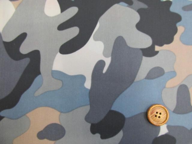 画像1: 撥水加工ナイロンオックス生地 迷彩柄 (ブルーグレー)