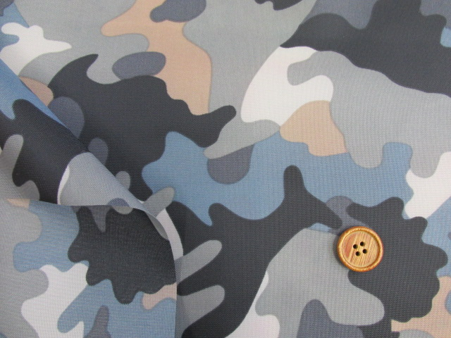 画像3: 撥水加工ナイロンオックス生地 迷彩柄 (ブルーグレー)
