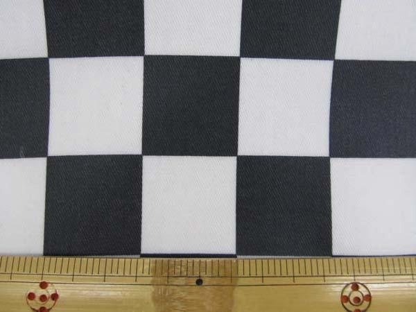 画像1: チェッカーフラッグ(市松)柄 ツイル生地  黒×白 3.3cm角 ラミネート