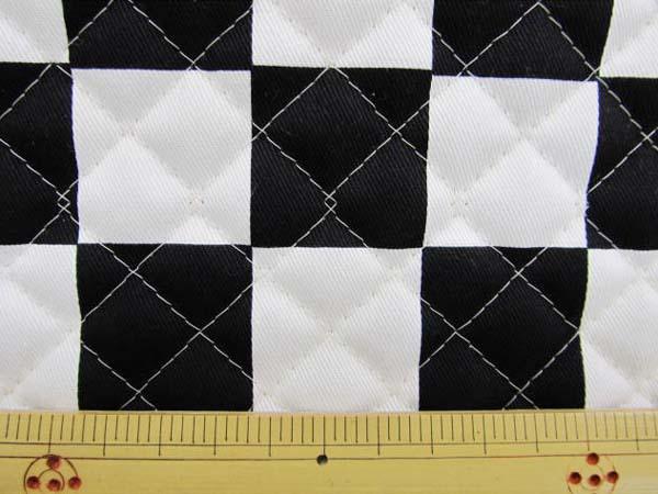 画像1: チェッカーフラッグ(市松)柄 ツイル生地  黒×白 3.3cm角 キルトはぎれ60cm