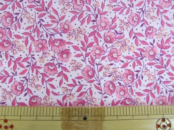 画像1: (3)【値下げしました!】綿ローン生地 スモールフラワー ピンクの小花柄 はぎれ80cm
