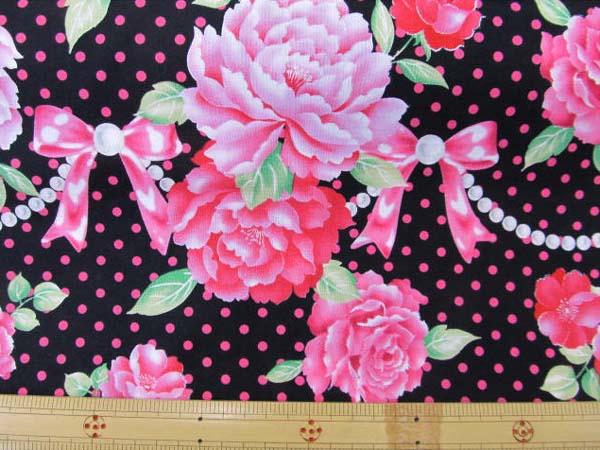 画像1: (3)【 姫物語 】Hime Monogatari バラ リボン パール ピンク色ドット ラメ入りはぎれ1m90cm (黒)スケアプリント