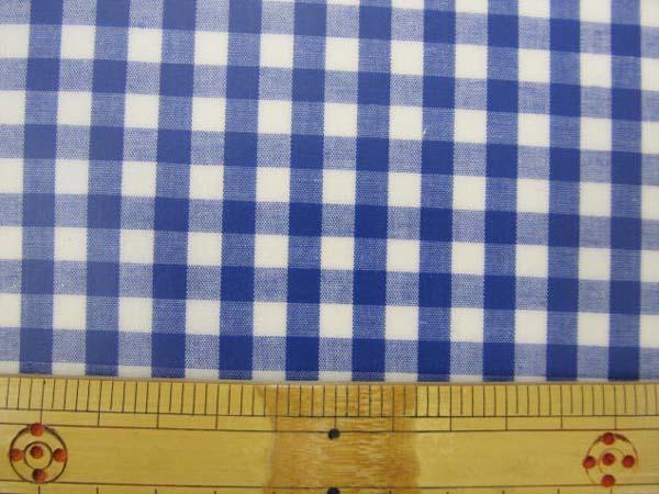 画像1: 定番ギンガムチェック110cm巾  【大】6mm角 (紺) ラミネート↑はぎれ25cm