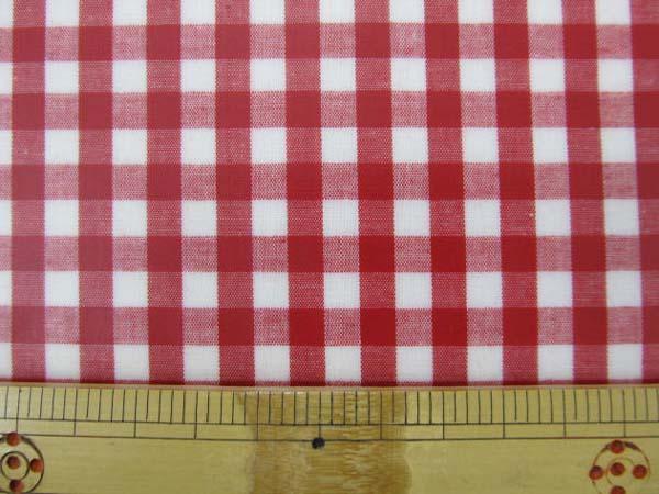 画像1: 定番ギンガムチェック110cm巾  【大】6mm角 (赤) ラミネート