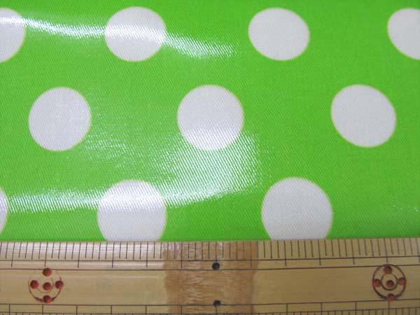 画像1: 値下げしました!!ネオンカラー(蛍光カラー) 22mmドット柄  (黄緑)ツイル生地 ラミネート