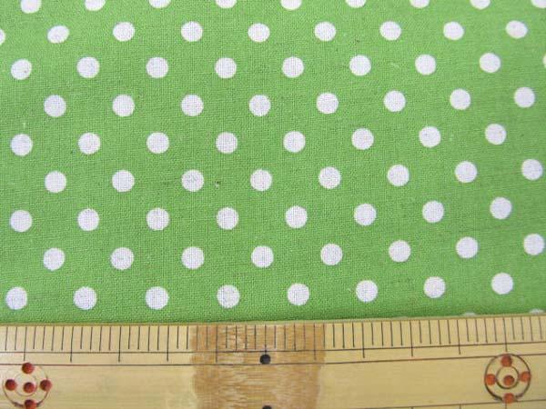 画像1: 現品限り 綿麻シーチング Dots ドット 水玉柄 (グリーン地)