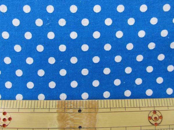 画像1: 現品限り 綿麻シーチング Dots ドット 水玉柄 (青地)
