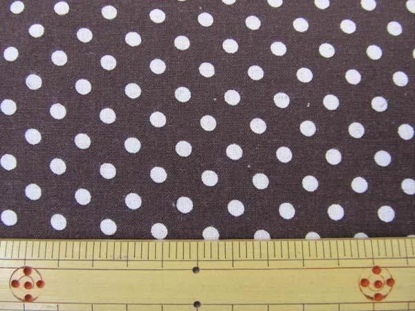 画像1: 現品限り 綿麻シーチング Dots ドット 水玉柄 (茶色地)
