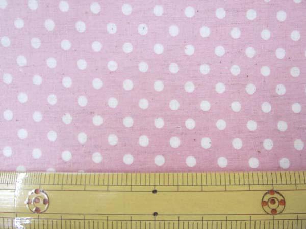 画像1: 現品限り 綿麻シーチング Dots ドット 水玉柄 (ピンク地) ラミネート