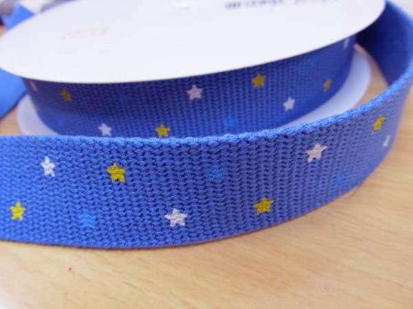 画像1: マナチャンテープ ミニ星柄 (青色)巾25mm
