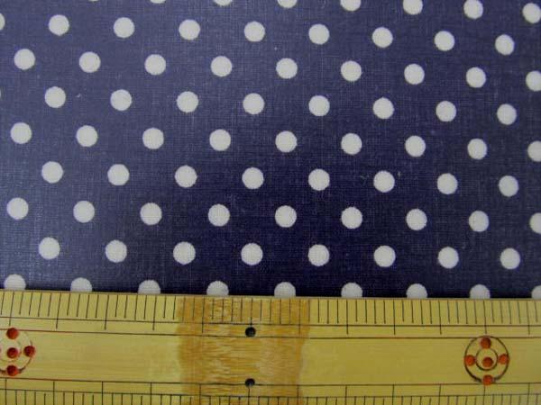 画像1: 現品限り 綿麻シーチング Dots ドット 水玉柄 (濃い紫地)ラミネート