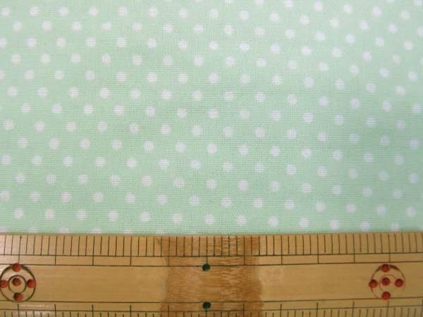 画像1: Wガーゼ ミニミニ 3mmドット 水玉 (☆グリーン地)