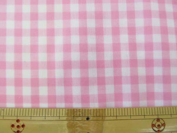 画像1: ↑定番ギンガムチェック110cm巾  【大】6mm角  (ピンク) ラミネートはぎれ40cm