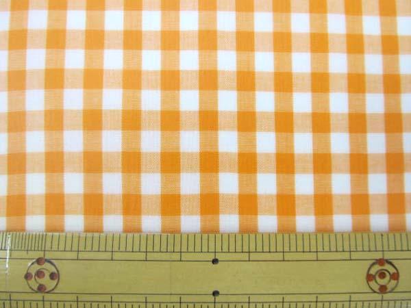 画像1: 定番ギンガムチェック110cm巾  【大】6mm角  (オレンジ) ラミネート