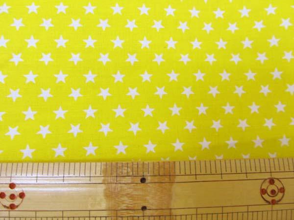 画像1: ♡定番 スケアプリント 7mm 星柄  (黄色) 国産 はぎれ45cm