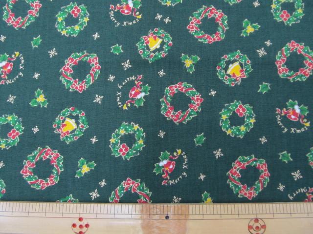 画像1: クリスマス リース柄ヒイラギ (緑)シーチング生地