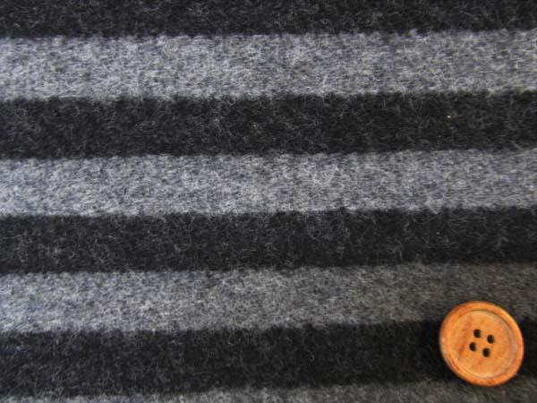 画像1: 巾150cm ウール混 ブランケット生地 ストライプ柄(黒×グレー)