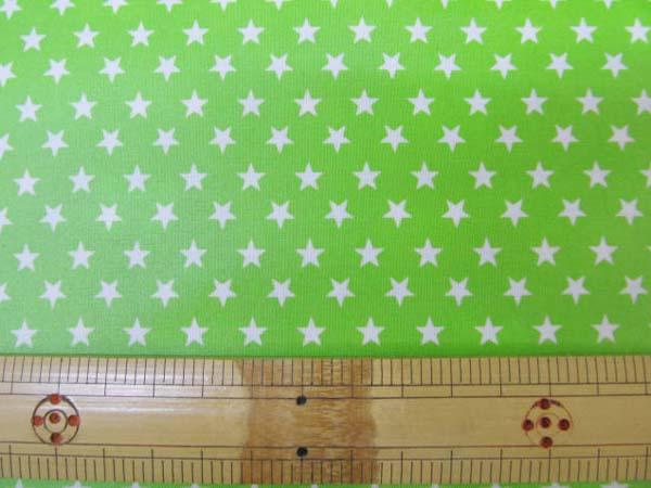 画像1: ▼定番 スケアプリント 7mm 星柄  (グリーン) 国産 ラミネート◆訳ありはぎれ30cm