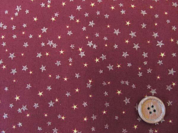 画像1: 【MON CHERI】 星柄 ラメ入 (エンジ) シーチング生地 クリスマス
