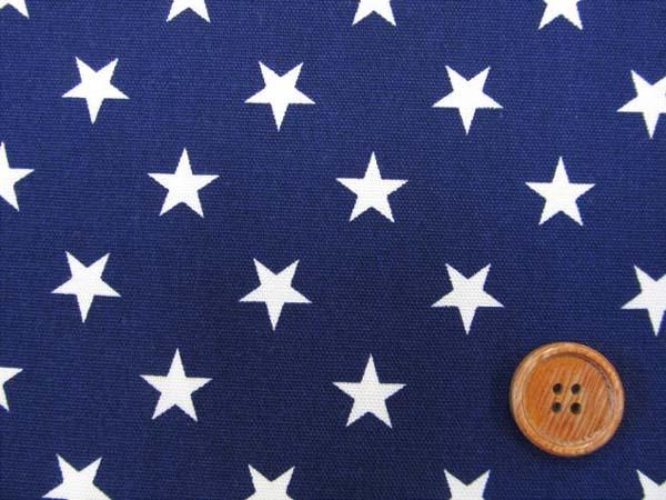 画像1: 星柄 白い星 オックス生地 (紺地)