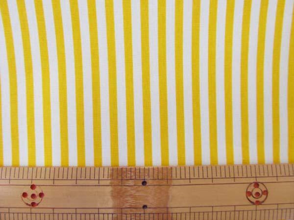 画像1: ◆定番 ストライプ【中】柄 ブロード生地 はぎれ20cm(黄色)