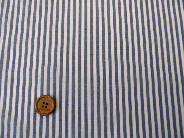 画像1: ▼145cm巾 ローン生地 ストライプ柄 (ブルー)◆訳ありはぎれ30cm