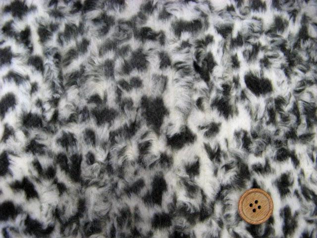 画像1: ボアプリント ひょう レオパード柄 (ブラック) 50cm単位