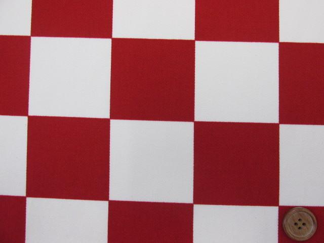 画像1: ☆チェッカーフラッグ(市松)柄 ツイル生地 (特大) 赤×生成 5.5cm角はぎれ80cm