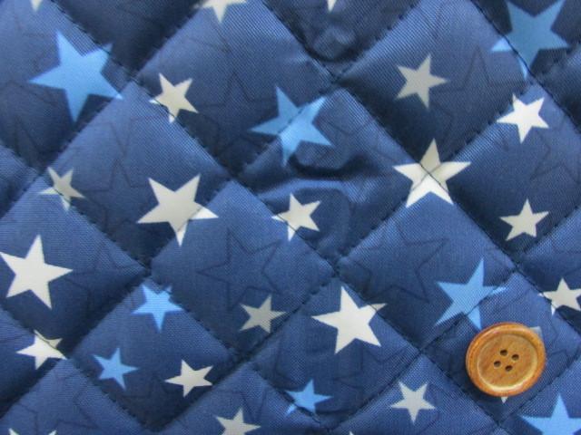 画像1: ▼訳あり 星柄 白と青の星 ナイロン生地 (紺地) キルト はぎれ50cm
