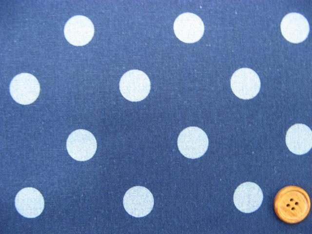 画像1: 綿麻シーチング ドット 水玉柄 インディゴ染め ブルードット×紺地【§】