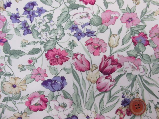 画像1: フローラルコレクション ピンク系花柄 シーチング生地 はぎれ1m(生成り地)