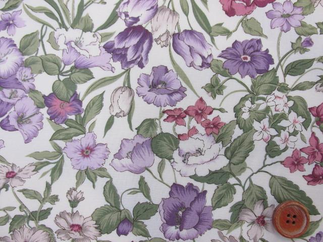 画像1: (3)フローラルコレクション 紫系花柄 シーチング生地 はぎれ90cm(生成り地)