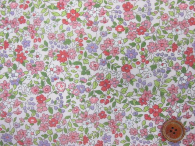 画像1: 撥水加工 ナイロンオックス生地 ピンクの小花柄