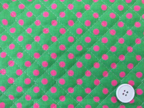 画像1: きみどり地にピンクのドット柄(7mm)シーチング生地 キルト