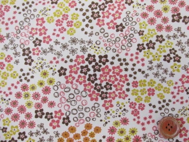 画像1: ■細コール天 ポップフラワーガーデン (アイボリー) 小花柄 はぎれ1m50cm