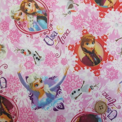 画像1: ?値下げしました。アナと雪の女王 オックス生地 (ピンク地)ディズニーfrozen ラミネート ↑はぎれ85cm。