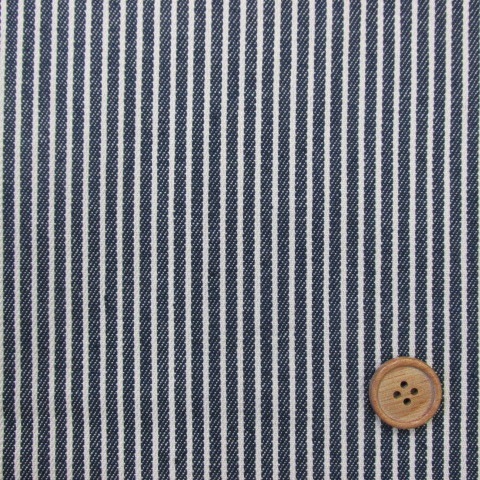 画像1: 綿ヒッコリー  生成のストライプ(紺地)