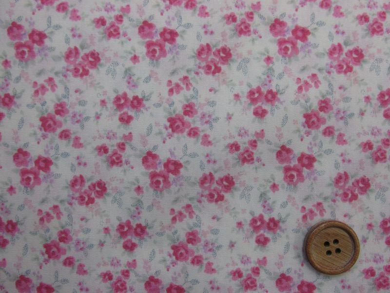 画像1: スイートフラワー 小花柄 シーチング生地(ピンク系)