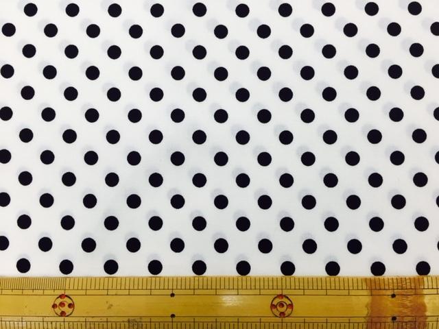 画像1: 白地に黒のドット柄(7mm)ブロード生地
