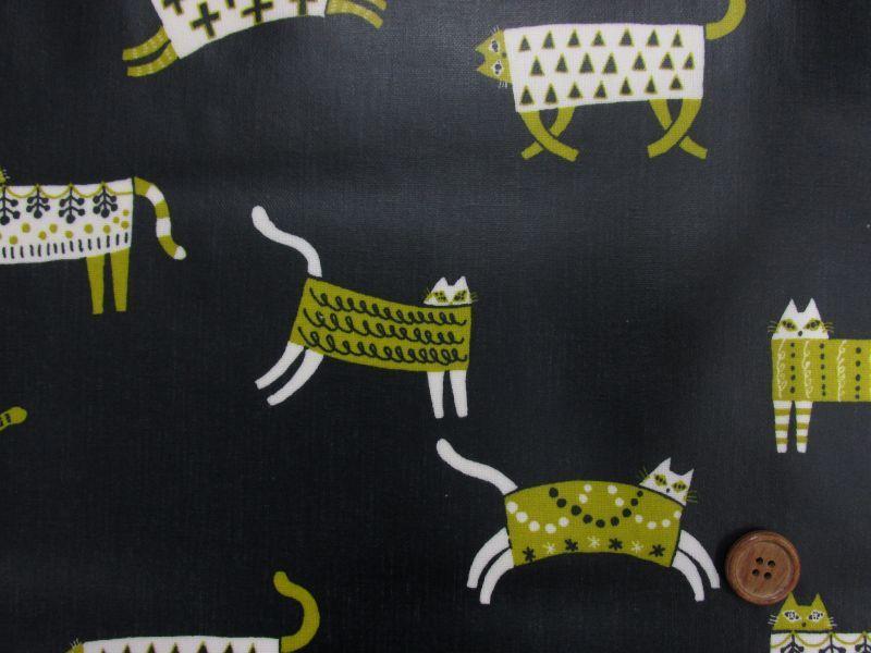 画像1: ▼訳あり 綿麻キャンバス キルマキャット柄(濃紺)猫 ラミネートはぎれ90cm