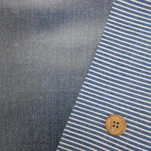 画像1: デニム調 リバーシブル 無地・ストライプ柄(紺)  オックス生地 ラミネート