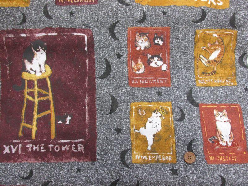 画像1: 【Manhattaner's】 猫のパッチワーク オックスプリント (グレー)ねこ