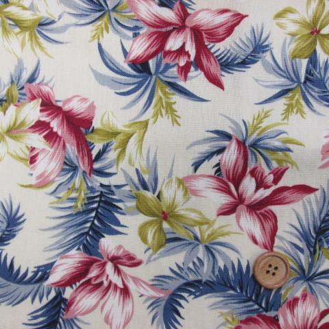 画像1: (3)145cm巾 ハワイアンテイスト フラワー柄(ピンク) オックス生地 はぎれ65cm