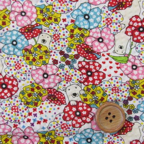 画像1: 綿リップル かくれくまさんと小花柄(生成り)